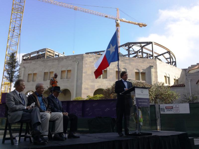 Chair of the Bexar County Performing Arts Center Foundation Bruce Bugg speaks at a press conference.