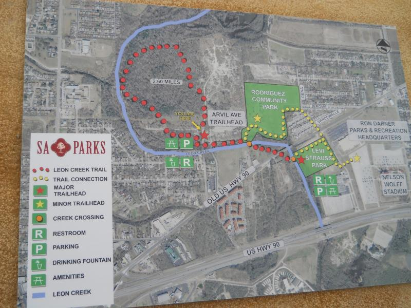 A map of the South Leon Creek Greenway outside of the trail's entrance.