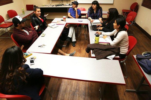 L-R: Liz Hernandez, Jose Garcia, Karina Calderon, Adan, Liceth Reyes, Fatima Medina and Maria Calderon are part of a Chicano student movement at University of Nevada-Las Vegas where they freely discuss being gay and Latino.