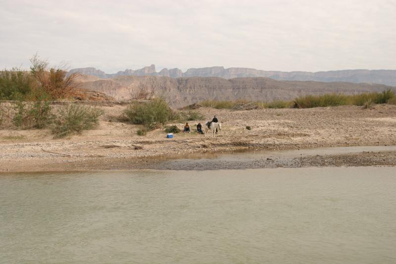 Mexican nationals on the south side of the Rio Grande at Boquillas, Mexico