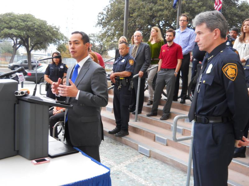 Mayor Julian Castro joins SAPD Chief William McManus announcing stricter enforcement of 3-foot law