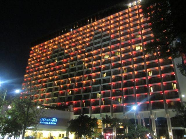 For Halloween, the Hilton Palacio del Rio downtown displayed a Jack O' Lantern in lights across the building to highlight hunger for the San Antonio Food Bank