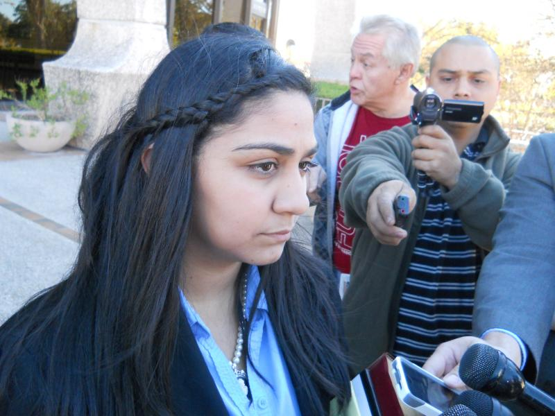 John Jay Sophomore Andrea Hernandez is suing Northside ISD to allow her to remain at the Jay science and engineering magnet without having to wear a mandated ID with an RFID chip.