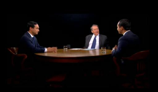 From left to right: Congressman-elect Joaquín Castro, Charlie Rose, and San Antonio Mayor Julián Castro.