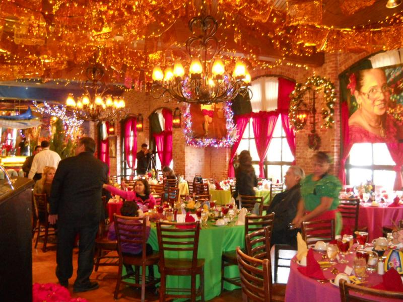Mi Tierra, as always, is decorated from top to bottom in glittering banners and lights