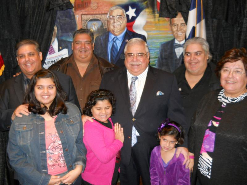 Paul Elizondo and his family at the unveiling of the Mi Tierra mural section.