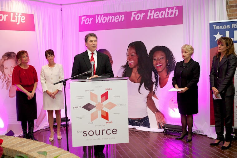 Gov. Rick Perry announces his support for a bill preventing abortions after 20 weeks at the Source Pregnancy Center in Houston.