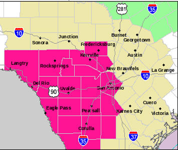 The area in pink is under a Red Flag warning for fire danger until 7 p.m.