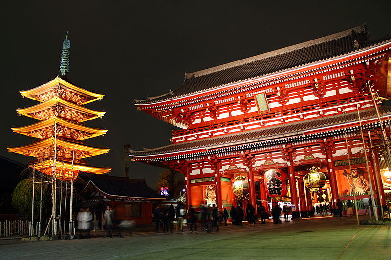 Senso-ji temple at night.