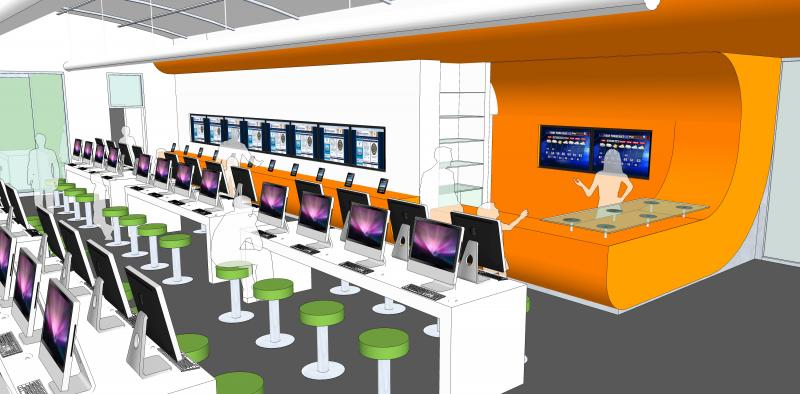 Concept art for the inside of the now approved Bibliotech all-digital library.