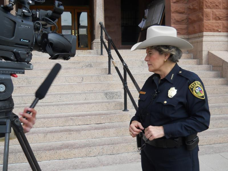 "Bexar Co. Sheriff Susan Pamerleau sports her new ""silver belly"" gray Western hat, one of those on the new approved list for county deputies' headgear"