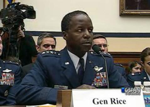 General Edward Rice testifies in front of the House Armed Services Committee.