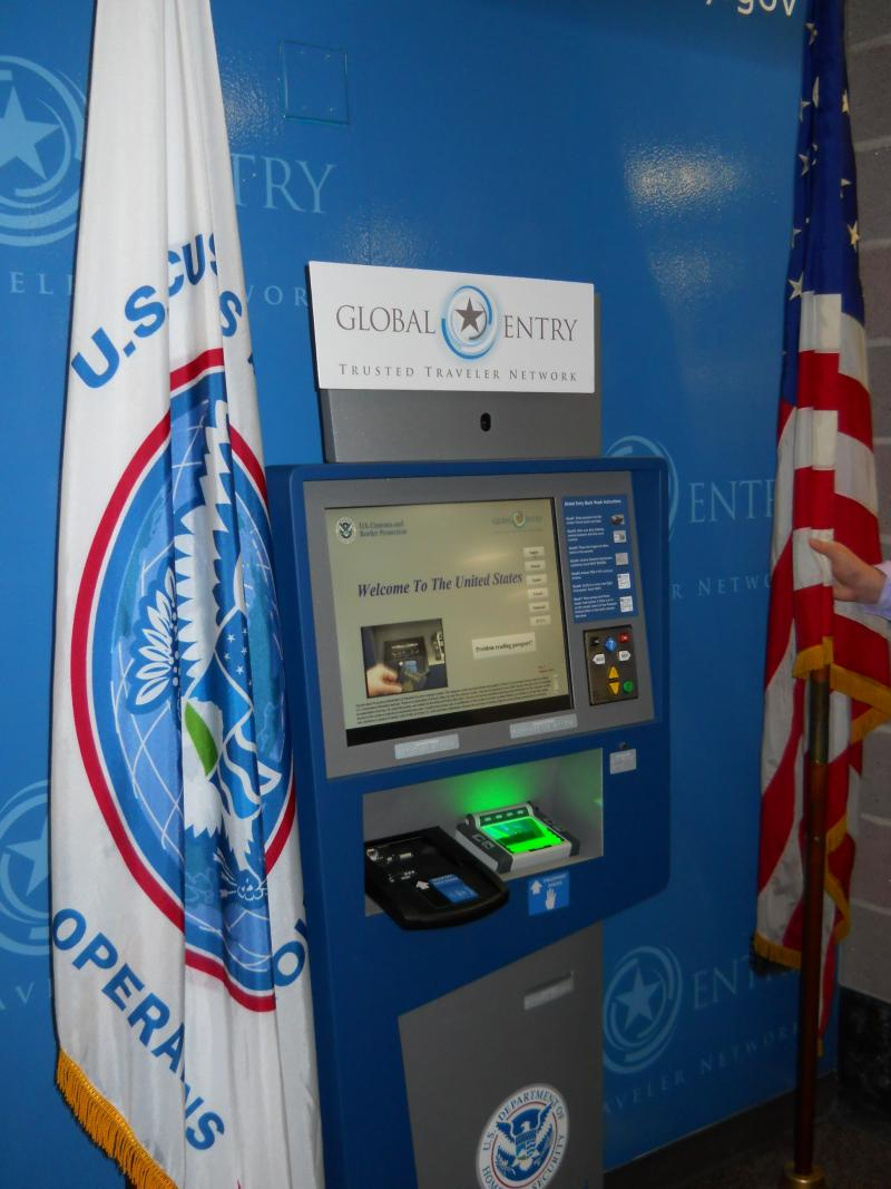 Global Entry kiosk in Terminal A.