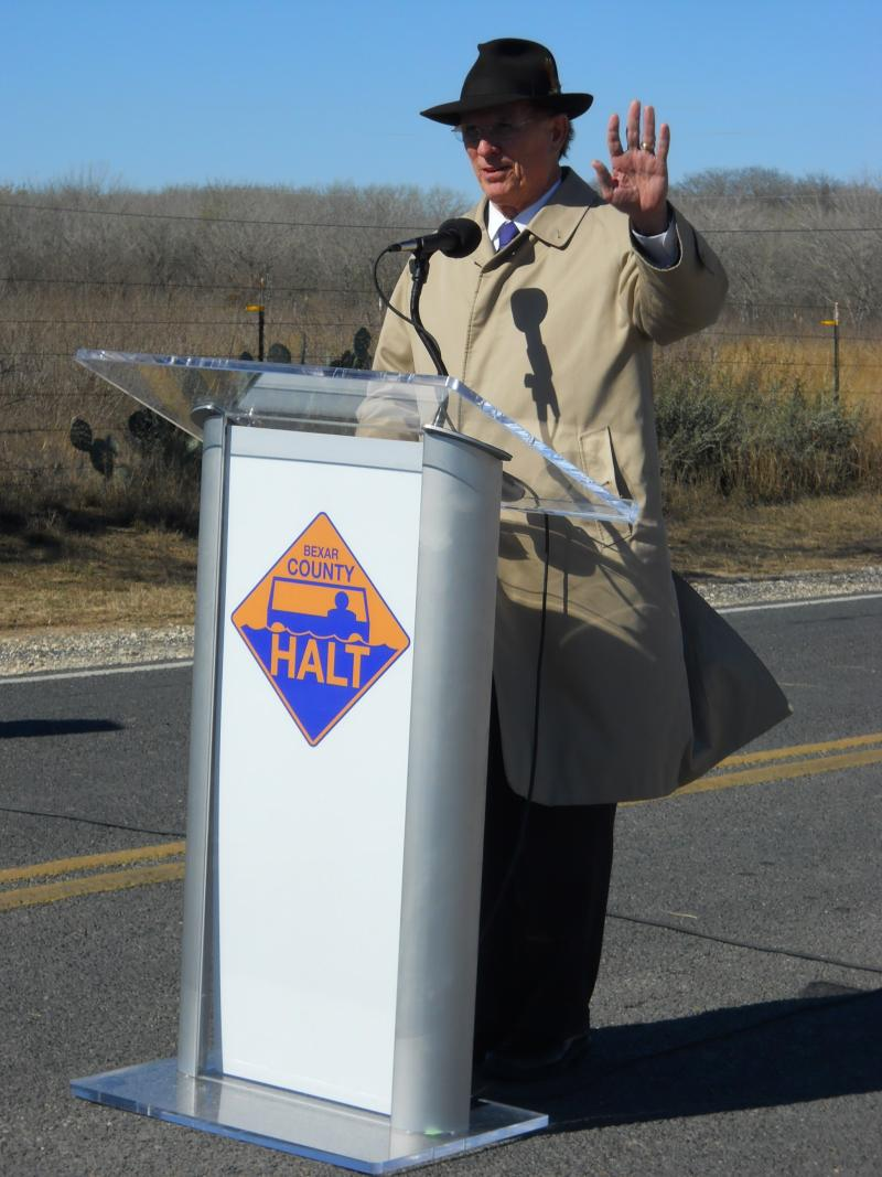Bexar Co. Judge Nelson Wolff introduces HALT system on Shepherd Rd. in S. Bexar Co.
