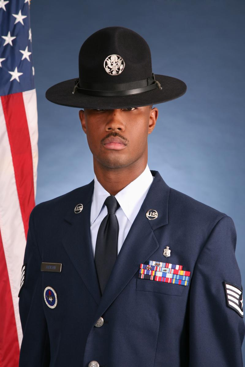 Airman 1st Class Christopher Jackson is no longer permitted to wear his MTI hat after his conviction this week