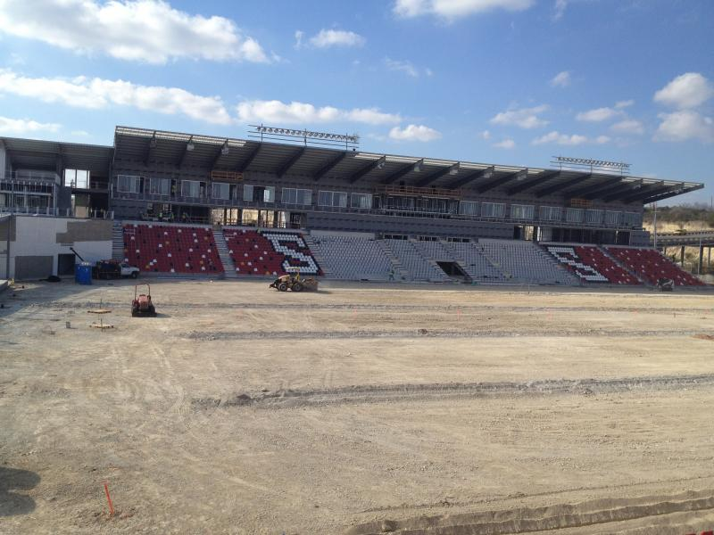 The seats and risers are up on what will be come Toyota Field. The first match in the stadium will be April 13th.