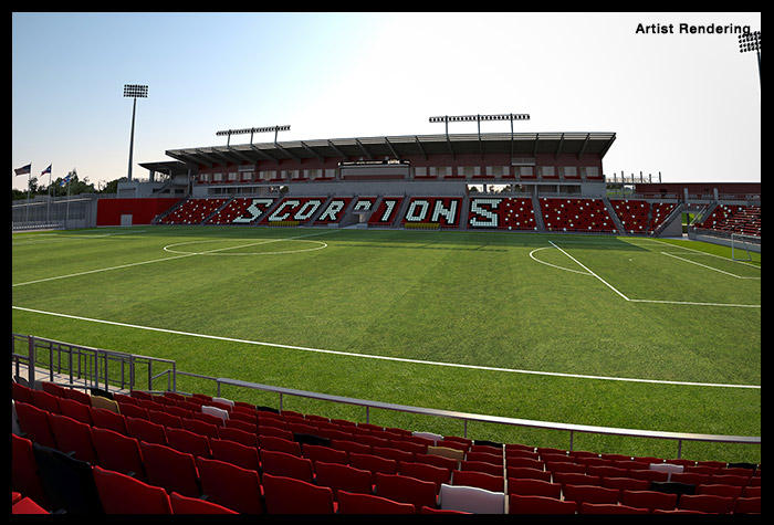 An artists rendering of what the view from seats will look like. This image shows the view from section '121'