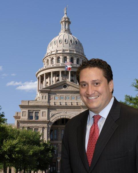 Rep. Trey Martinez Fischer in front of the Texas state capitol in Austin