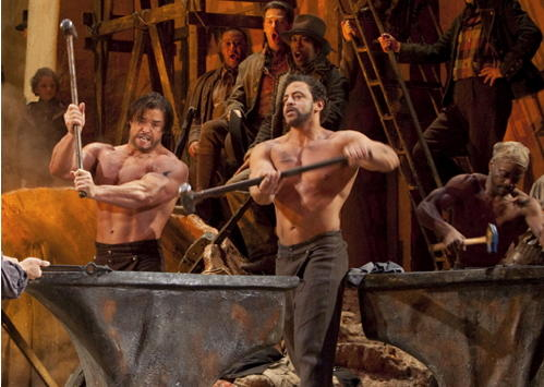 "Scene from the Met's performance of ""Il Trovatore,"" the Anvil Chorus."