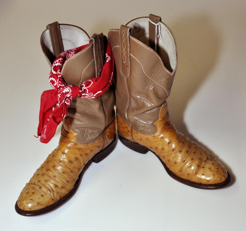 "George Strait's boots on display at the UTSA Institute of Texan Cultures ""Texans Head to Foot"" exhibit."