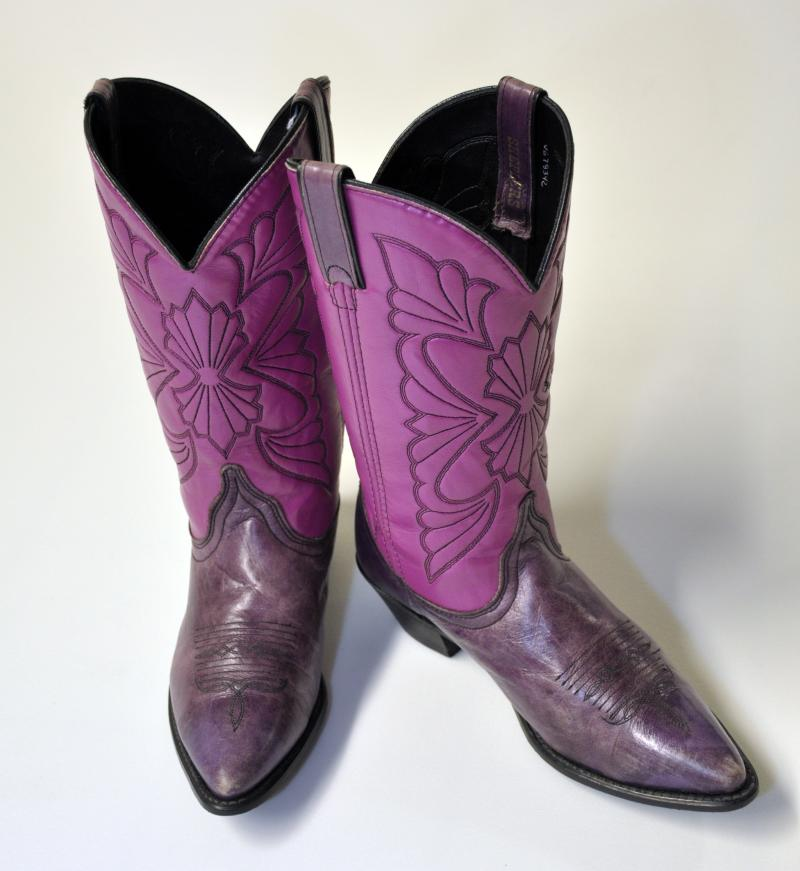 "Columnist Heloise's boots on display at the UTSA Institute of Texan Cultures ""Texans Head to Foot"" exhibit."