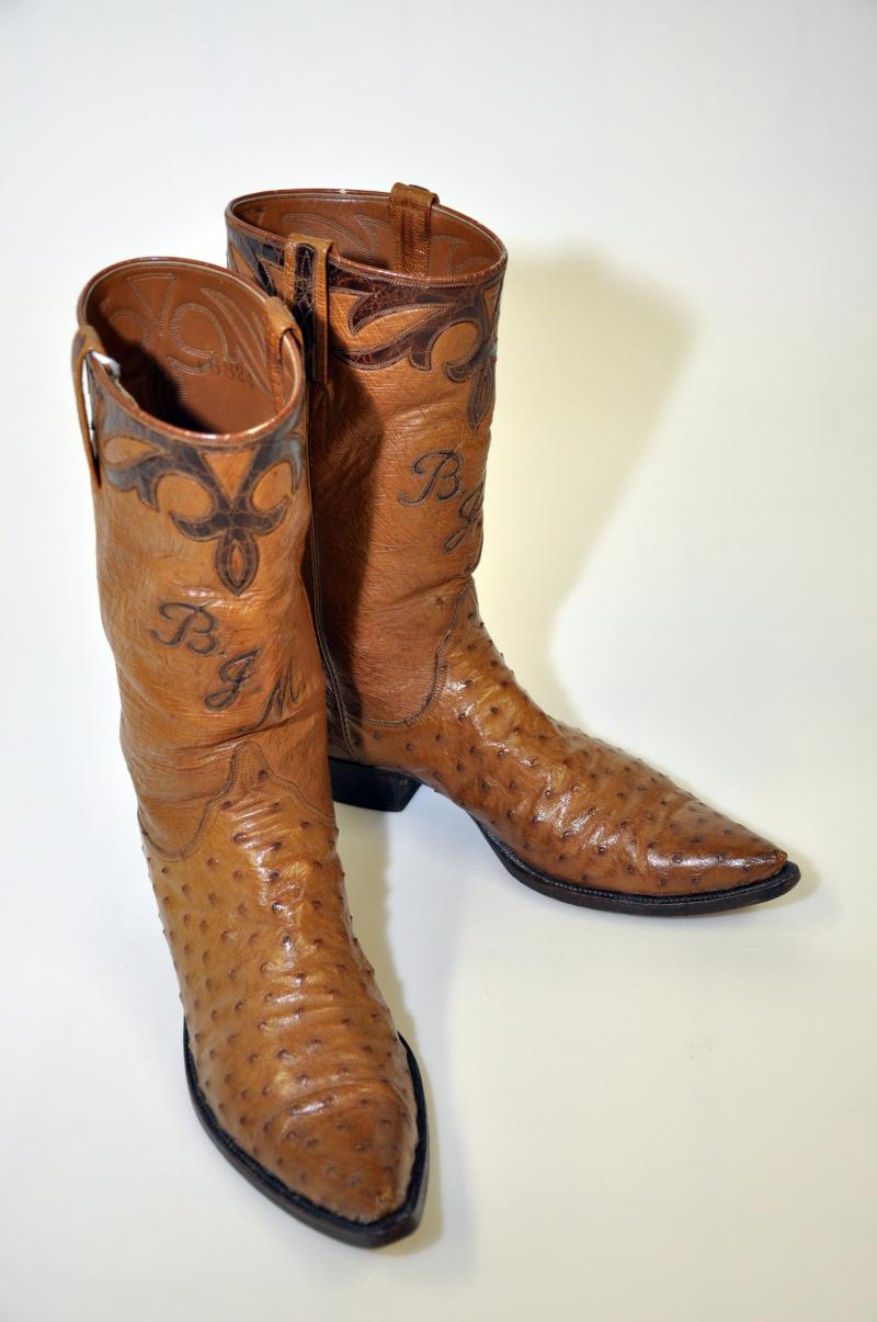 "Red McCombs' boots on display at the UTSA Institute of Texan Cultures ""Texans Head to Foot"" exhibit."