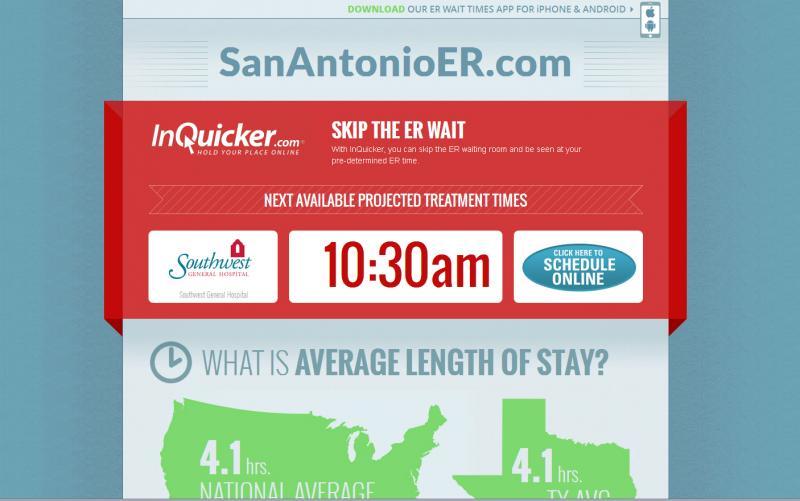 Screenshot of the ER check-in homesite.