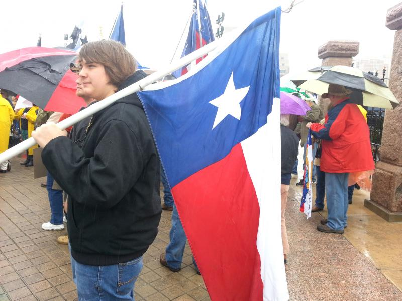 Supporters of the secession movement braved the rain and cold temperatures.