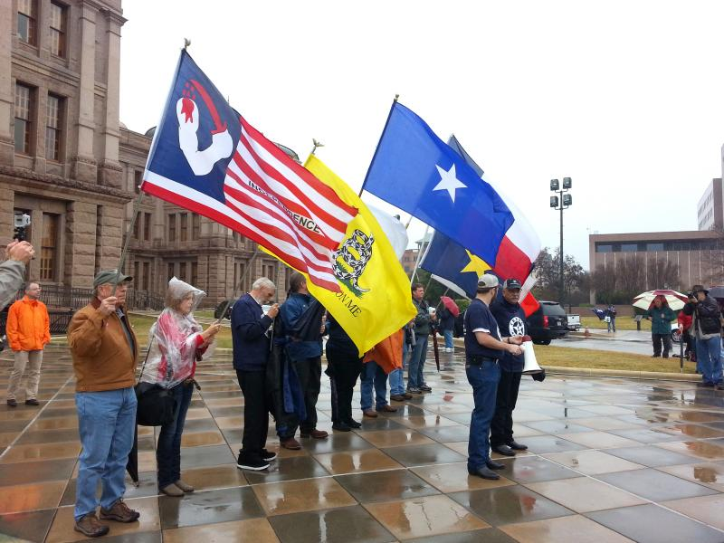 Members of the Texas Nationalist group rallied outside the Capitol. They want a bill to be crafted to allow Texas voters the option to choose if they would like to secede from the Union.