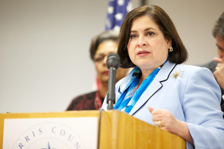 State Sen. Leticia Van de Putte, shown here at the announcement for her human trafficking legislation, is urging lawmakers to not wait to fix education funding