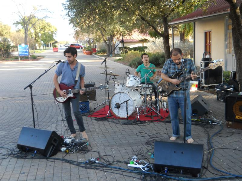 Alex Scheel (left), Jorge Gonzalez, and George Garza of Pop Pistol are one of the performing groups of Luminaria in March