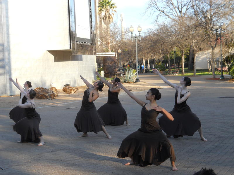 The Align Dancers perform in HemisFair Park as part of a demo from their Luminaria performance in March