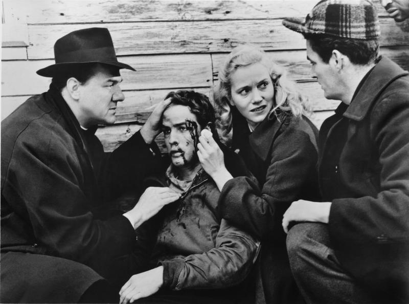 "Karl Malden, Marlon Brando, and Eva Marie Saint in ""On the Waterfront."""