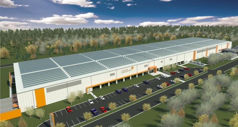 Artist's rendering of new Nexolon solar panel plant.