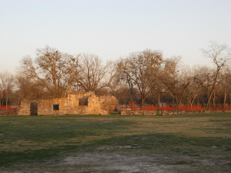 The low wall across the compound from San Juan is the new burial site for 15 Native Americans whose remains were unearthed during the stabilization of the mission