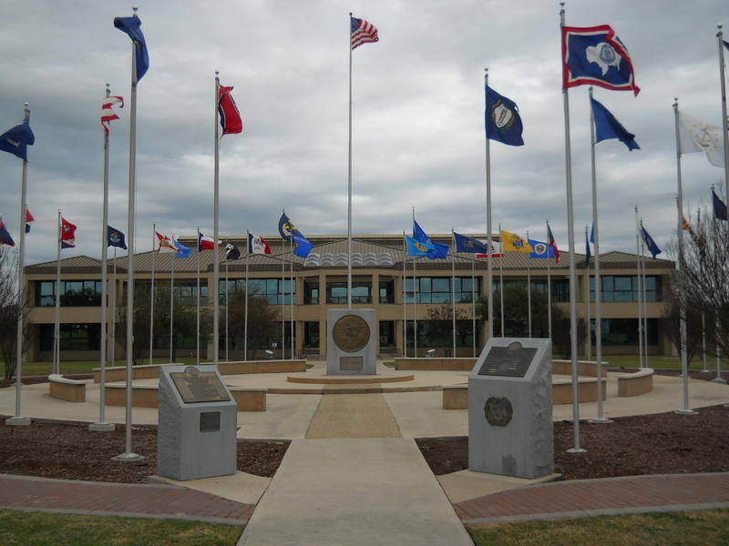 The headquarters of the 37th training wing at Joint Base San Antonio-Lackland where court proceedings are held in the ongoing investigation.