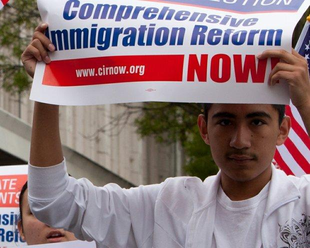 A young man rallies for comprehensive immigration reform in 2010.