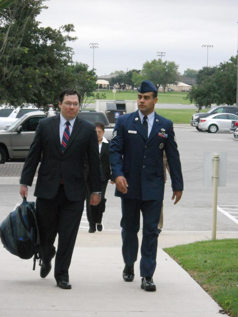 Civilian attorney, Joseph Jordan, arrives at Lackland courtroom with Staff Sgt. Craig LeBlanc. LeBlanc is accsued of aggravated sexual assault of one trainee and having sexual relationships with two others