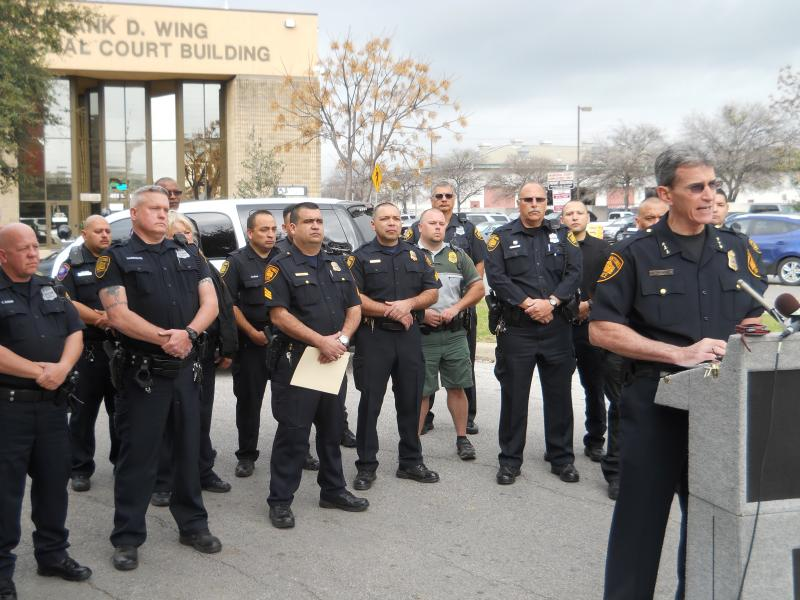 SAPD Police Chief William McManus addresses the media infront of the city's Municipal Court Building on S. Frio.