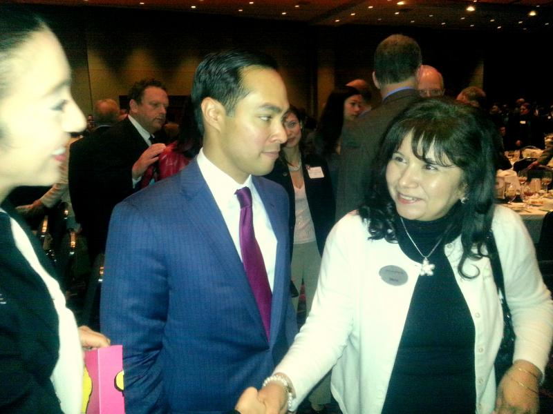 Mayor Julian Castro talks with supporters following his State of the City address at the Henry B. Gonzalez Convention Center. He and the council will hear a final proposed budget on Aug. 8 before final adoption on Sept. 12.