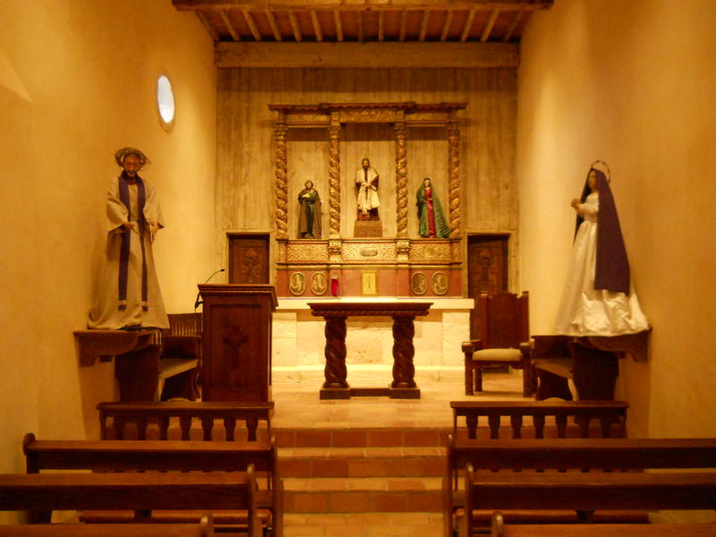 The inside of the newly-restored, intimate Mission San Juan.Capistrano