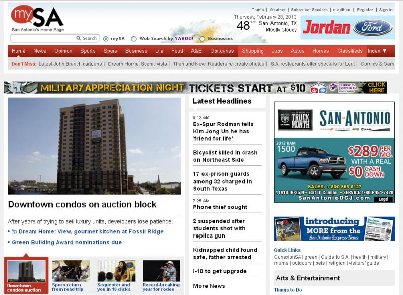 Screen shot of mysanantonio.com on Thursday, Feb. 28, 2013.