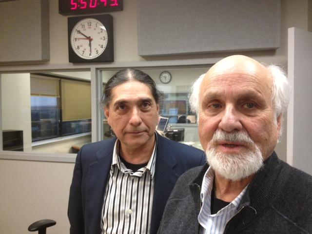 SA Composer George Cisneros of Urban-15 (left) with modern music legend Morton Subotnick in the KSTX Studios