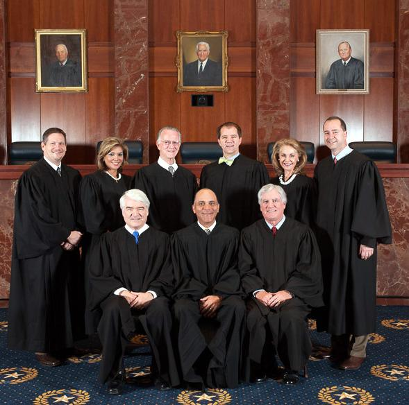 The nine justices of the Texas Supreme Court in January 2013, Chief Justice Wallace B. Jefferson, who is from San Antonio, is seated in the middle.