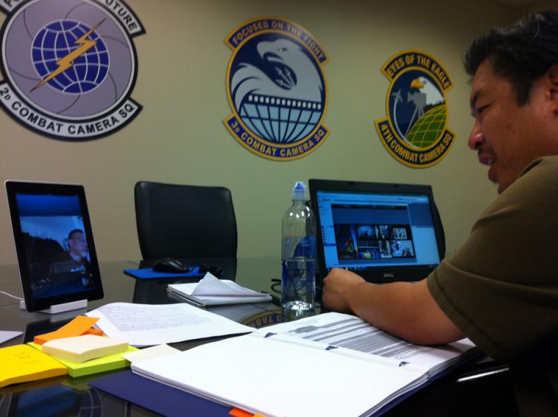 Mr Lance Cheung (via Skype), photographer for USDA, and Mr. Kin Man Hui, photographer for San Antonio Express News, discuss photo entries for the U.S. Air Force Public Affairs 2012 Media Contest.