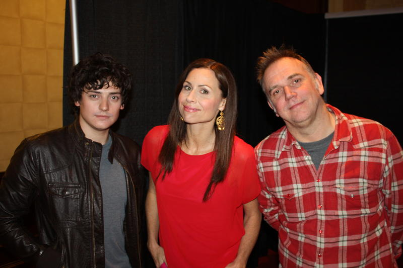 Aneurin Barnard, Minnie Driver, and director Marc Evans.