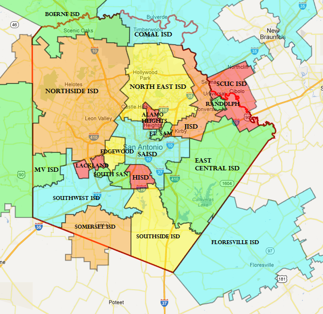 This map generated by NEISD shows the boundries of the different school distrcits that fall into Bexar County.