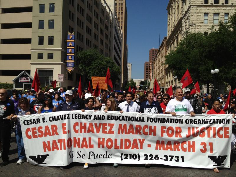 The 2012 Cesar Chavez March for Justice attracted several thosuand participants.