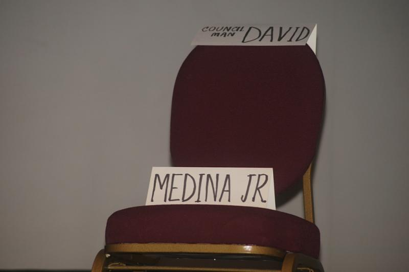 Incumbent David Medina did not attend the candidate debate forum. He held his own kick-off event prior to the forum.