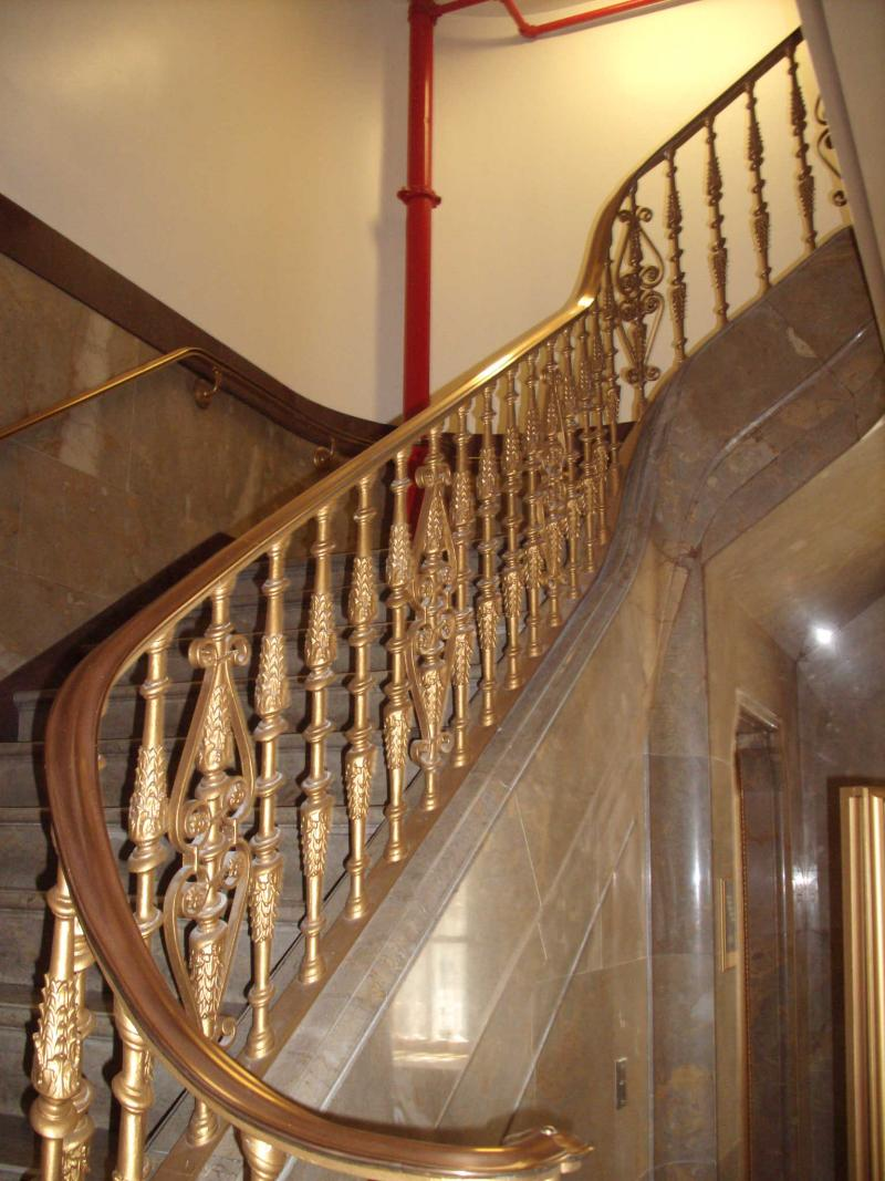 Dr. Thomas Schlenker says buildings once encouraged people to climb the stairs by installing beautiful stairways like this one at the U.S. Post Office Bldg. in downtown San Antonio